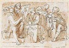 Ecole italienne du XVIIe siècle  Artistes présentant leurs académies Plume et encre brune, lavis brun