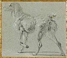 Attribué à Jan Fyt Anvers, 1611 - 1661 Deux études de chiens Paire de dessins au crayon noir et rehauts de craie blanche sur papier...