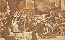 Attribué à Hieronymus Francken I Herentals, 1540 - Paris, 1610 Scène de bal, une élégante jouant sur un virginal Plume et encre brun...