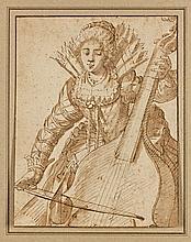 Giacomo Franco Venise, 1550 - 1620 Joueuse de viole de gambe Plume et encre brune, lavis brun