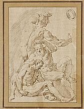 Francesco Fontebasso Venise, 1707 - 1769 Etude de trois hommes Plume et encre brune