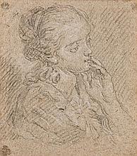 Ecole vénitienne du XVIIIe siècle  Etude de tête de femme Crayon noir et rehauts de craie blanche