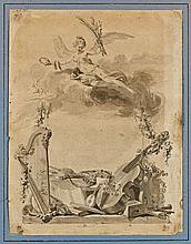 Augustin de Saint-Aubin Paris, 1736 - 1807 Projet de frontispice aux instruments de musique Plume et encre brune, lavis brun