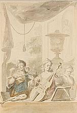 Dionys van Nijmegen Rotterdam, 1705 - 1798 Trois musiciens Aquarelle sur trait de crayon noir