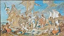 Charles-Joseph Natoire Nîmes, 1700 - Castel Gandolfo, 1777 L'arrivée de Cléopâtre à Tarse Aquarelle gouachée sur trait de crayon