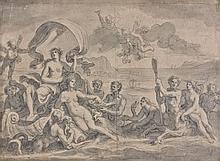 François-Alexandre Verdier Paris, 1651 - 1730 Le triomphe d'Amphitrite Lavis gris sur trait de crayon