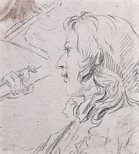 Attribué à Charles Parrocel Paris, 1688 - 1752 Recto : Portrait d'homme ; Verso : Etude de draperie Crayon noir et estompe