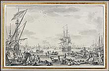 Nicolas-Marie Ozanne Brest, 1728 - Paris, 1811 Vue du port de Toulon Plume et encre noire, lavis gris