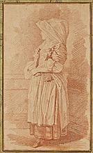 Ecole française vers 1770 Entourage de Jean-Honoré Fragonard Etude de femme en habit traditionnel Sanguine, trait d'encadrement à la..