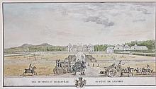 Ecole française du XVIIIe siècle  Vue du château de Basville Plume et encre noire, lavis gris et aquarelle