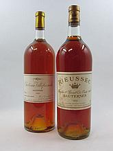 2 magnums 1 mag : CHÂTEAU RIEUSSEC 1975 1er Cru Sauternes (base goulot, étiquette léger tachée et capsule présentant un accroc)