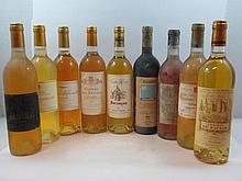 9 bouteilles 1 bt : CHÂTEAU BESSAN 1964 Barsac (étiquette très abimée)