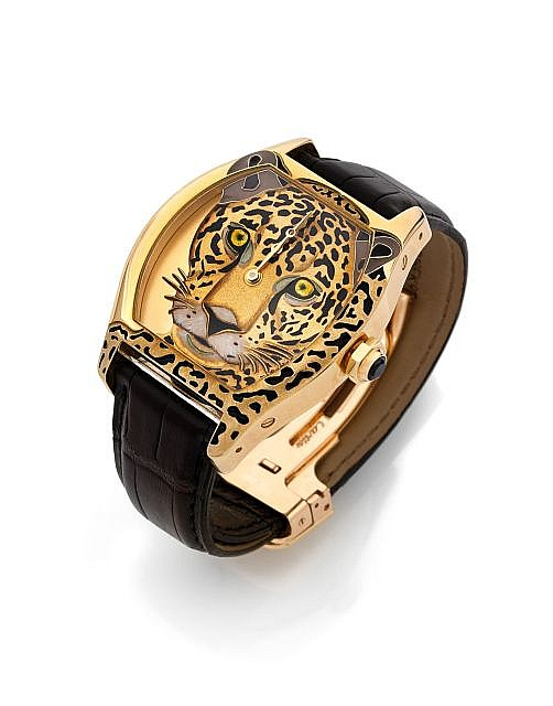 Image result for Cartier Cartier Tortue XL leopard print decoration Watch