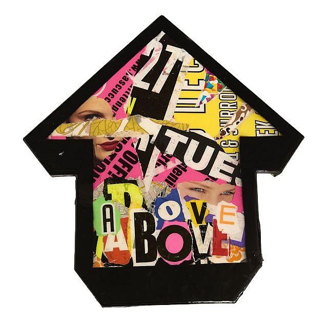 ABOVE Né en 1981 PHOENIX - 2011 Collages d'affiches déchirées sur panneau de bois découpé et résine