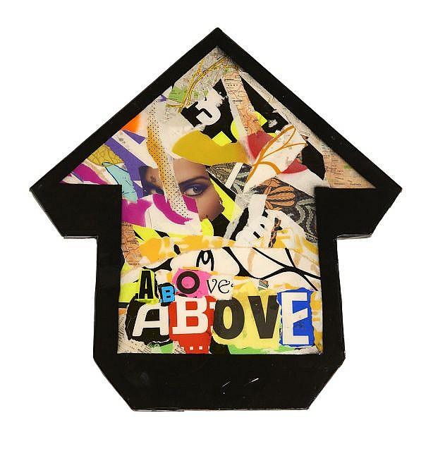 ABOVE Né en 1981 BUDAPEST TO BELGRADE - 2011 Collages d'affiches déchirées sur panneau de bois découpé et résine