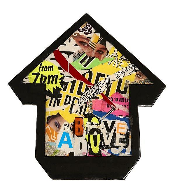 ABOVE Né en 1981 FROM 7 PM - 2011 Collages d'affiches déchirées sur panneau de bois découpé et résine
