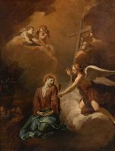 Attribué à Jacob van Schuppen Fontainebleau, 1670 - Vienne, 1751 Le Christ au Mont des Oliviers Huile sur toile