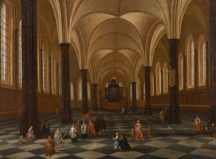 Ecole flamande du xviie si cle int rieur d 39 glise anim d 39 un for Interieur eglise