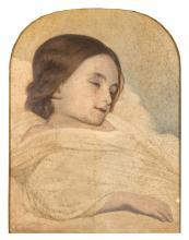 Ary Scheffer Dordrecht, 1795 - Argenteuil, 1858 Portrait d'enfant dormant Huile sur toile (Toile d'origine), à vue cintrée en partie.