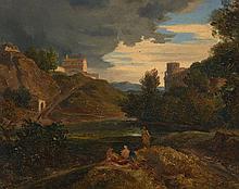André Giroux Paris, 1801 - 1879 Paysage avec une forteresse au bord d'un fleuve Huile sur toile (Toile d'origine)