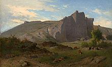 Jean-Achille Bénouville Paris, 1815 - 1891 Vachère et son troupeau dans un paysage rocheux Huile sur toile (Toile d'origine),