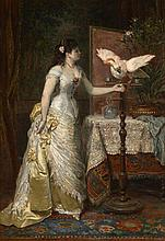 Herman-Maurice Cossmann Berlin, 1821 - Paris, 1890 Elégante à l'ara blanc dans un intérieur Huile sur panneau d'acajou, une planche,