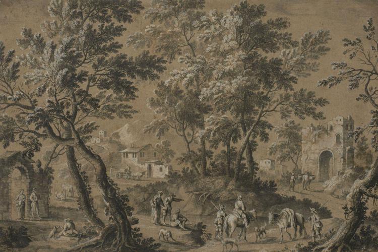 Ecole flamande du XVIIIe siècle Sousbois animé de personnag
