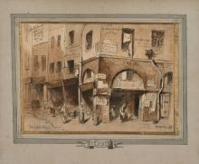 Louis-Adolphe Hervier Paris, 1818 - 1879 Le quartier des Halles, Paris, en 1848 Plume et encre noire, lavis brun,