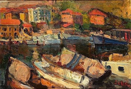 Zygmund SCHRETER (1886-1977) PETIT PORT DE MEDITERRANEE, circa 1930 Huile sur toile