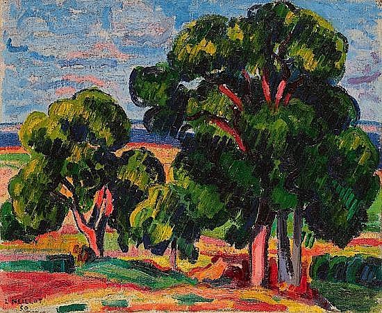 Louis NEILLOT (1898-1973) LES NOYERS, 1950 Huile sur toile