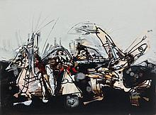Antonio SAURA (1930-1998) COMPOSITION, 1973 Technique mixte sur photographie contrecollé sur papier cartonné