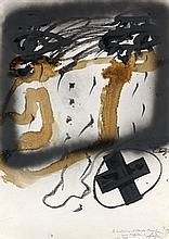 Antoni TAPIES (1923 - 2012) PROJET D'AFFICHES, 1983 Encre, gouache et fusain sur papier