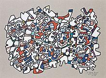 Jean DUBUFFET (Le Havre, 1901- Paris, 1985) SITE AUX EMMELEMENTS, déc 1973 Dessin au marker couleurs, découpé et collé sur papier gr...