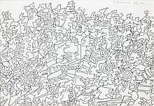Jean DUBUFFET (Le Havre, 1901- Paris, 1985) PAYSAGE, 7 juin 1974 Dessin au stylo bille noir sur papier