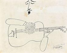 Saul STEINBERG (1914-1999) SINGER AND GUITARIST, 1963 Dessin à l'encre de Chine sur papier