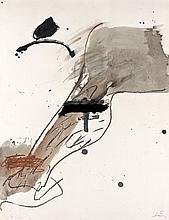 Antoni TAPIES (1923 - 2012) COMPOSITION-LA JAMBE POILUE, 1982 Aquarelle, gouache et pastels gras de couleurs sur papier