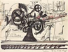 Jean TINGUELY (1925-1991) ETUDE POUR LA MACHINE, 1967 Encre, feutre, stylo bille et mine de plomb sur papier