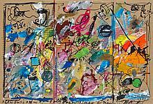 Jean TINGUELY (1925-1991) CONFUSION POLYPHONIQUE ET DEMONIAQUE, 1981 Technique mixte sur carton