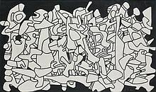 Jean DUBUFFET (Le Havre, 1901- Paris, 1985) EVOCATIONS II, 14 décembre 1970 Dessin au marker noir (découpé et collé sur papier noir)