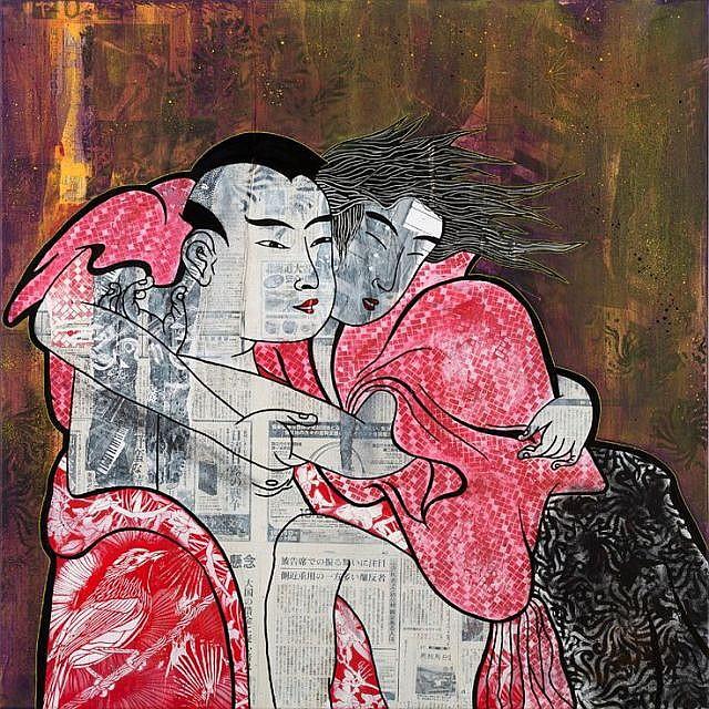 STEW Né en 1978 THE RISIN'LOVERS - 2015 Acrylique, peinture aérosol et papier marouflé sur toile