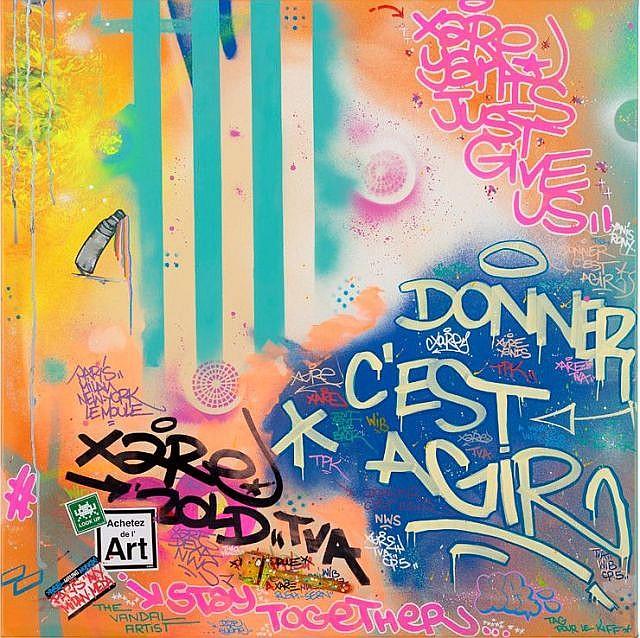 XARE Né en 1980 TAG POUR LE KIFF - 2015 Acrylique, marqueur et peinture aérosol sur toile