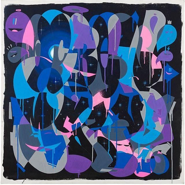 ZEKY Né en 1975 NUIT ETOILEE - 2015 Acrylique et marqueur sur toile