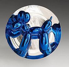Jeff KOONS Né en 1955 Blue Balloon Dog - 2002 Assiette en porcelaine métallisée