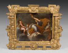 Thomas Blanchet Paris, 1614 - Lyon, 1689 Allégorie féminine tenant un flambeau sur des nuées, projet de décor Huile sur toile (Toile...