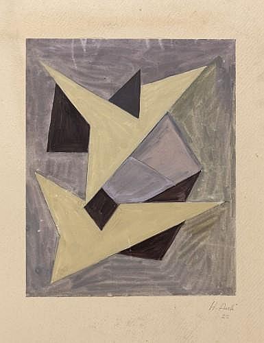 HAKKI ANLI (1906 - 1990) COMPOSITION, 1922 Gouache sur papier marouflé sur carton