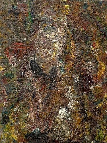 Eugène LEROY (1910-2000) LUMIERE BLANCHE SUR GRAND VISAGE, 1988 Huile sur toile