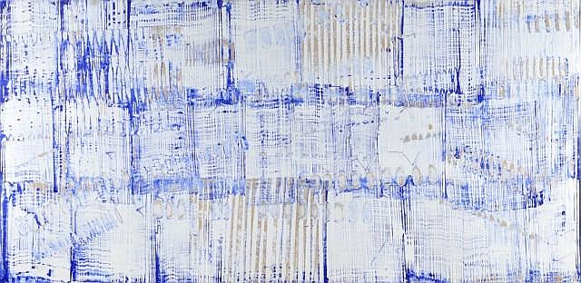 Herbert ZANGS (1924-2003) WINDSCREEN WIPER BLUE & WHITE WITH CROSS-WORK PATTERNS Huile sur panneau