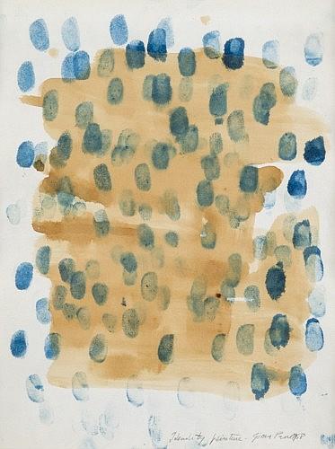 Gina PANE (1939 - 1990) IDENTITY PEINTURE, 1968 Aquarelle et empreintes de doigts sur papier