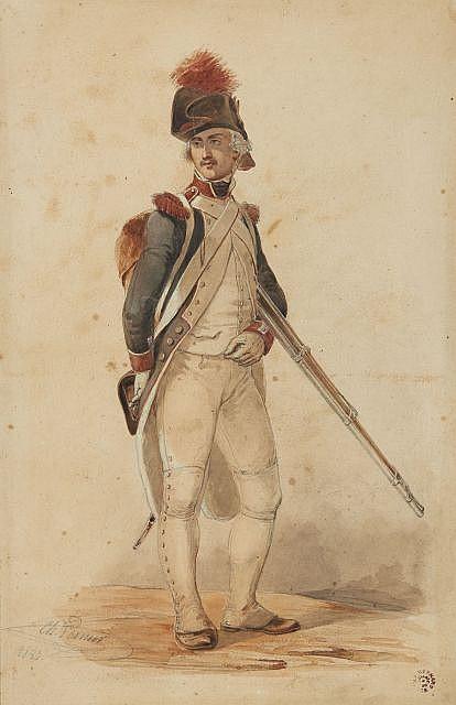 Ch. VERNIER (XIXème siècle). Portrait de fantassin