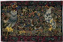 """René PERROT & PINTON FRERES (lissiers) (1912-1979) """"Deux faucons, canard et oiseaux"""""""